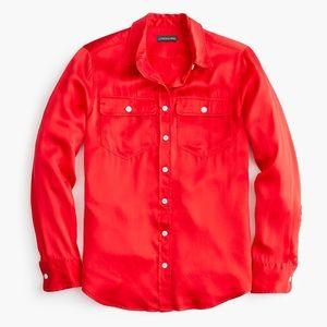 J.Crew Petite Red Holiday Shirt